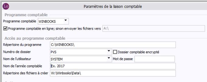 Paramètres liaison comptable