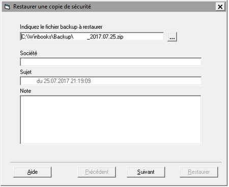 Sélection de fichier backup Winbooks